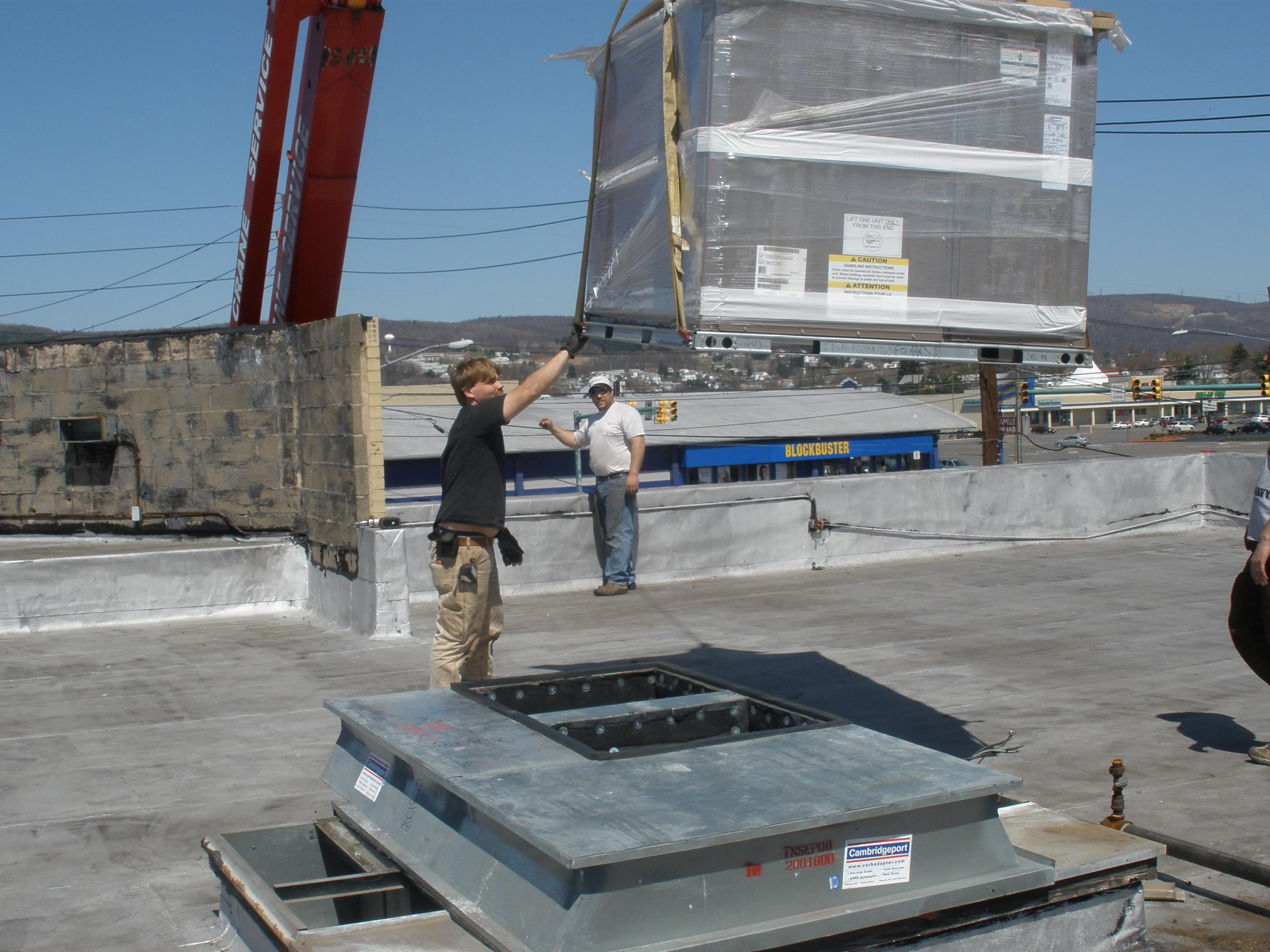 Setting Commercial Rooftop HVAC Unit